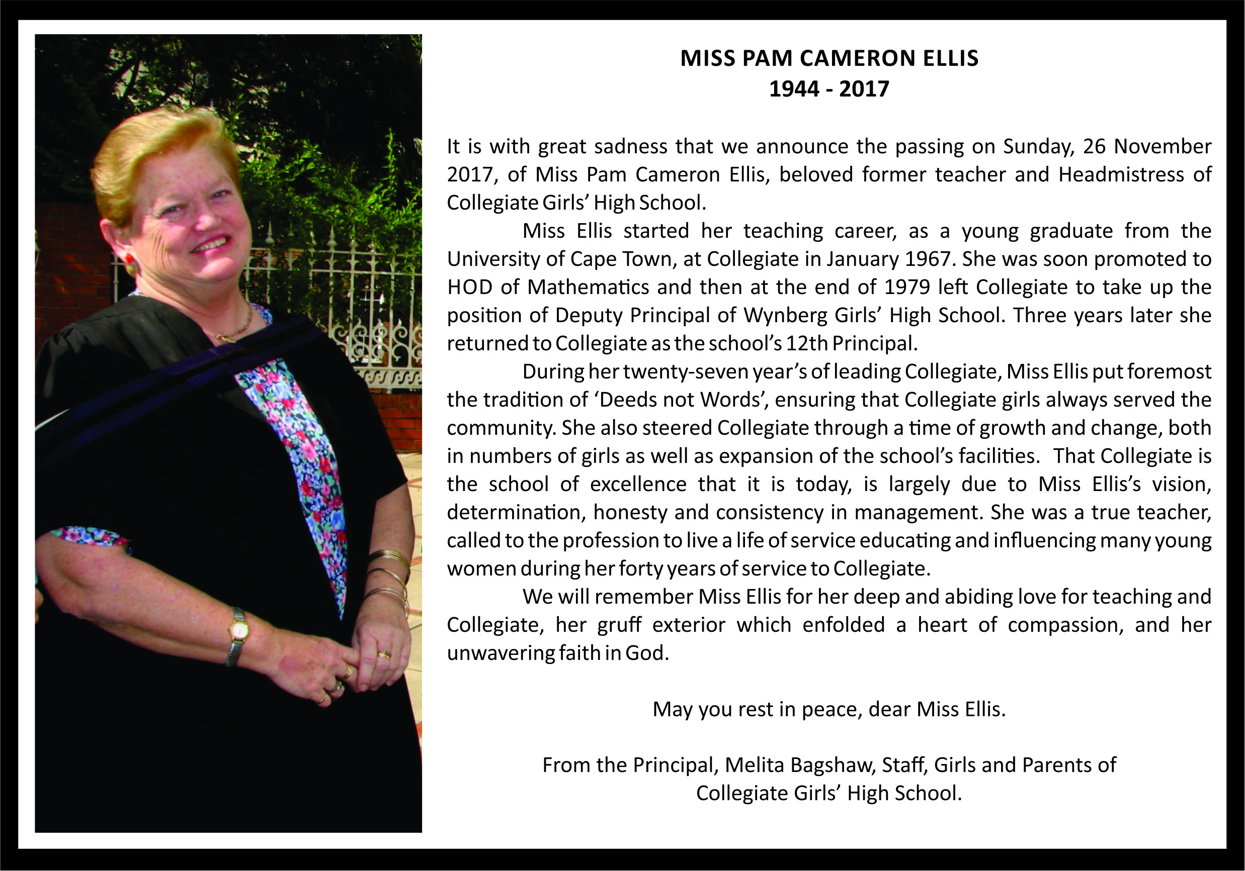 Obituary for Miss Ellis